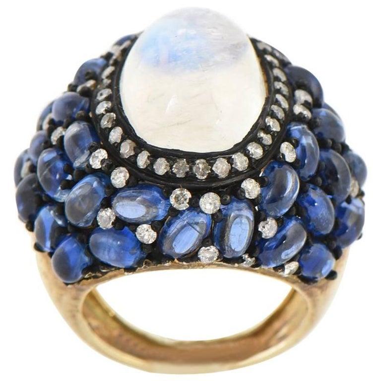 Moonstone, Kyanite and Diamond Cocktail Ring