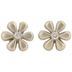 White Gold and Diamond Daisy Flower Earrings