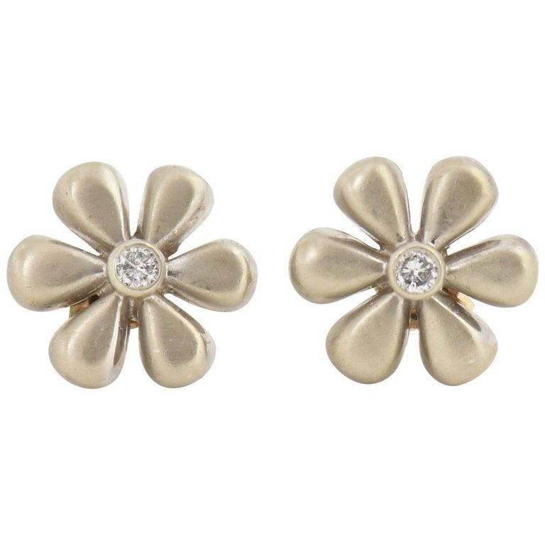 White Gold and Diamond Daisy Flower Earrings