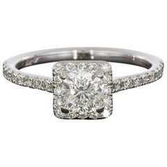 1.08 Carat Cushion Centre with Princess Halo Diamond Engagement Ring