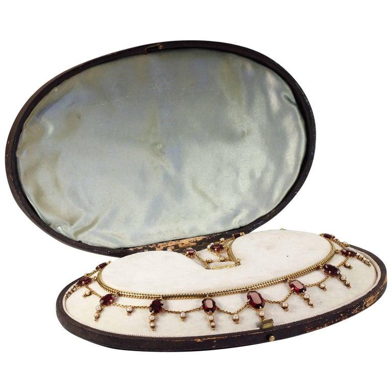 Victorian Garnet Pearl Festoon Necklace in Original Box For Sale