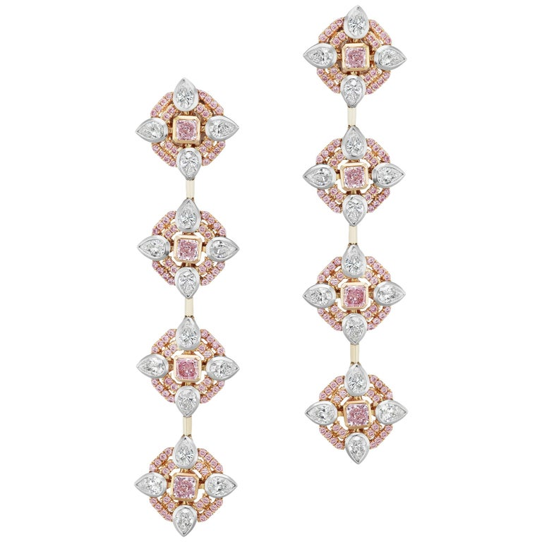 Scarselli Long Pink Diamond and White Diamond Dangle Earrings in 18 Karat Gold