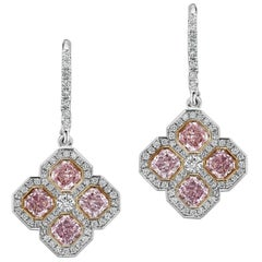 Fancy Pink Diamond and White Diamond Drop Earrings in Platinum