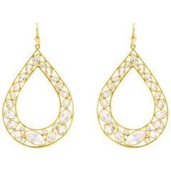 Lauren Harper Rainbow Moonstone, Gold Pear Drop Earrings