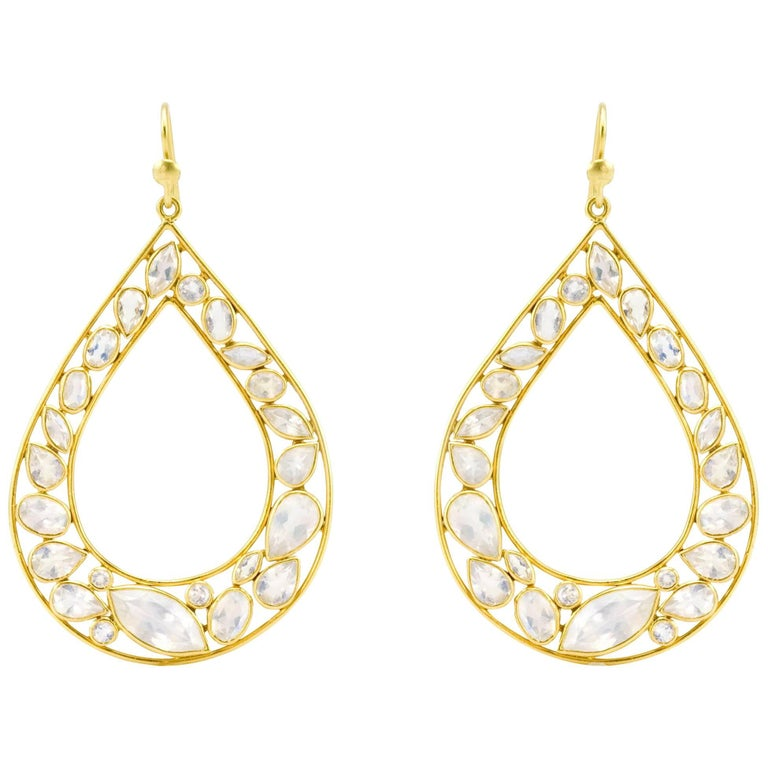 Lauren Harper Rainbow Moonstone, Gold Pear Drop Earrings