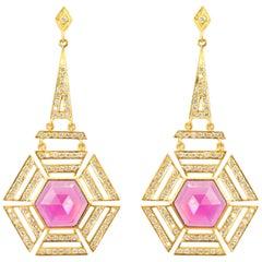 Lauren Harper Pink Tourmaline, 1.71cts Diamonds, Gold Geometric Earrings