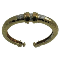 18 Karat Yellow Gold and Platinum Diamond Bangle Bracelet