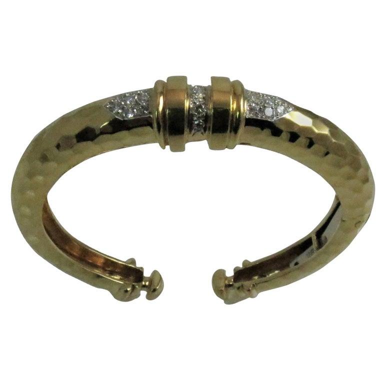 18 Karat Yellow Gold and Platinum Diamond Bangle Bracelet