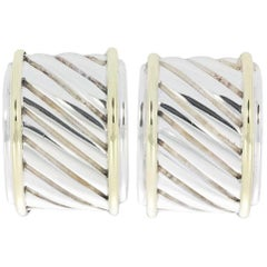 David Yurman Thoroughbred Silver and Gold Cigar Band Cable Earrings