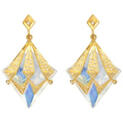 Lauren Harper Rainbow Moonstone, 1.14cts Diamond, Gold Statement Drop Earrings