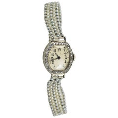 Ladies Platinum Diamond Seed Pearl Vintage manual Wristwatch