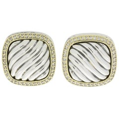 David Yurman Albion Pave Diamond Silver and Gold Square Earrings
