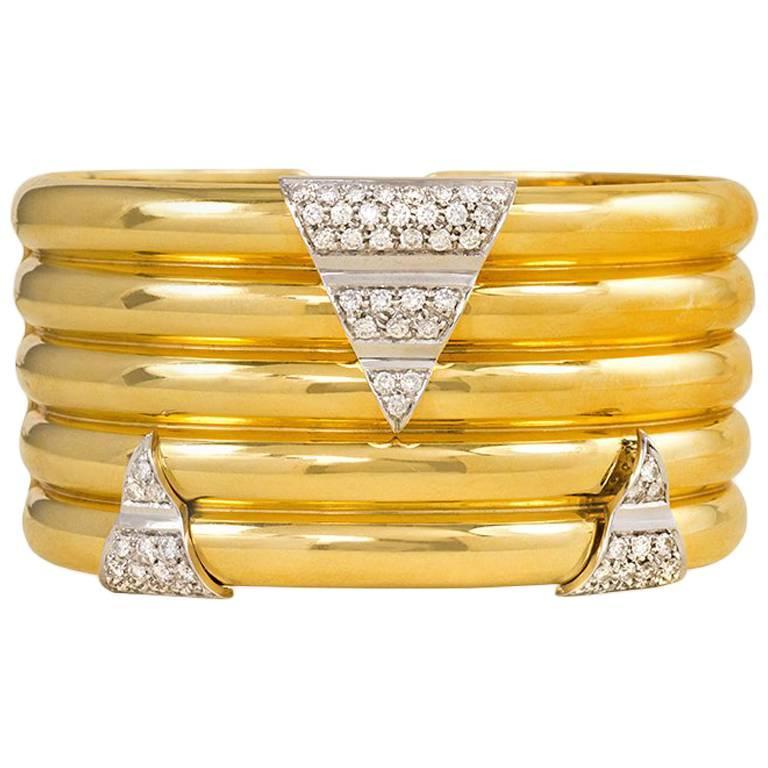 1970s Italian Gold Cuff Bracelet with Triangular Diamond Segments
