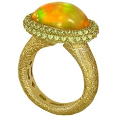 Opal Peridot Yellow Gold Textured Cocktail Ring One of a Kind