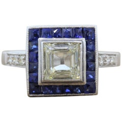 Diamond Square Shape Sapphire Halo Gold Engagement Ring