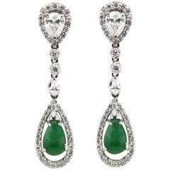 Fine Green Jade and Diamond Drop Earrings