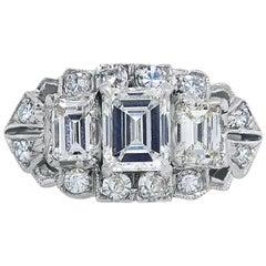Art Deco Platinum Three Emerald Cut Diamond and Twelve Single Cut Diamond Ring