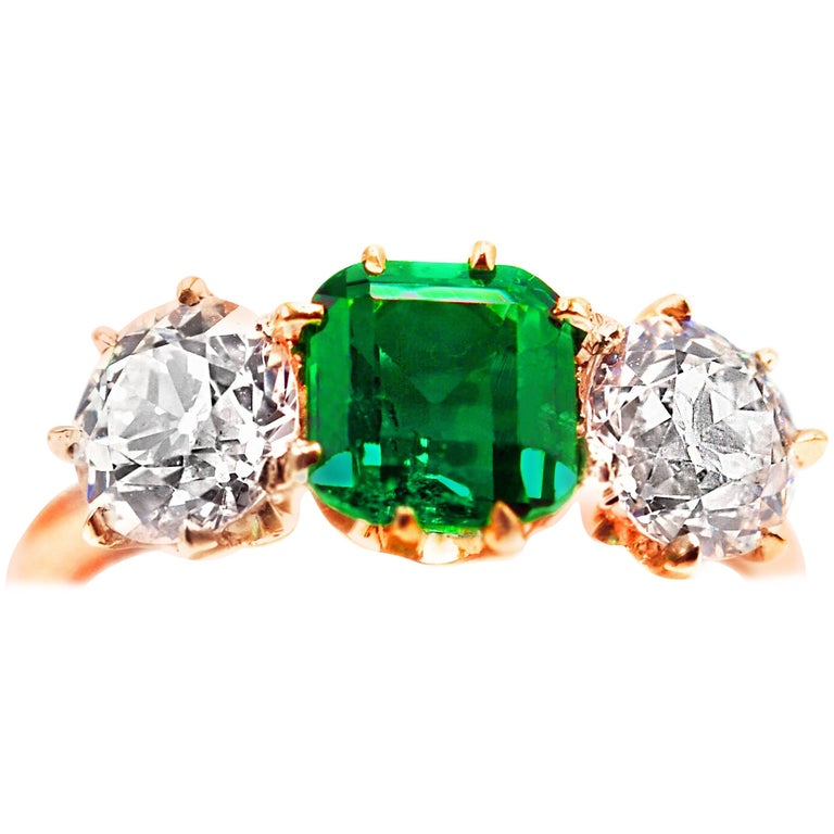 Belle Époque Bailey Banks & Biddle 1.18 Carat Colombian Emerald Diamond Ring For Sale