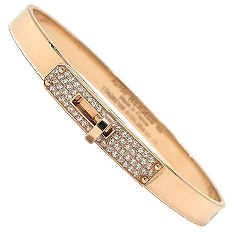 f6226dd06a32 Hermes 18 Karat Rose Gold Kelly H Bracelet with Diamonds at 1stdibs