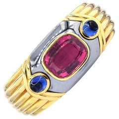 Bulgari Rubelite and Blue Sapphire Bangle Bracelet