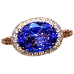 2.08 Carat Tanzanite Halo Ring