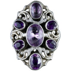 Antique Victorian Large Amethyst Silver Ring, circa 1900