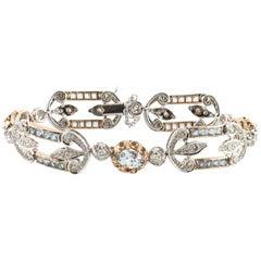 Aquamarine Diamond Two Color Gold Bracelet