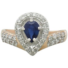 Contemporary Russian Sapphire and Diamond Yellow Gold Dress Ring