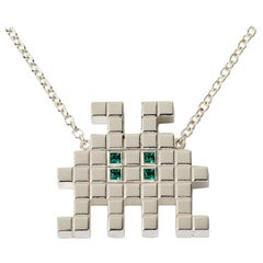 Francesca Grima Silver and Emerald Invader III Necklace