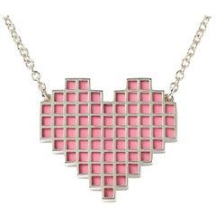 Francesca Grima Silver Reversible Pixel Heart Necklace in Bubblegum and Carbon