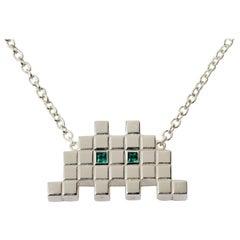 Francesca Grima Silver and Emerald Invader I Necklace
