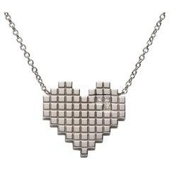 Francesca Grima Diamond White Gold Pixel Heart Necklace