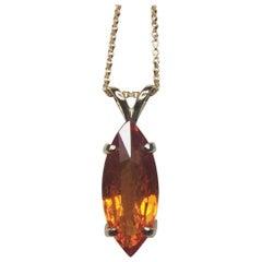 Vivid Orange 4.17 Carat Spessartine Garnet Marquise Cut 14 Karat Gold Pendant