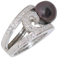 Tahiti Pearl and White Diamonds on White Gold 18 Carat Cocktail Ring