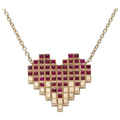 Francesca Grima Yellow Gold and Ruby Pixel Heart Necklace
