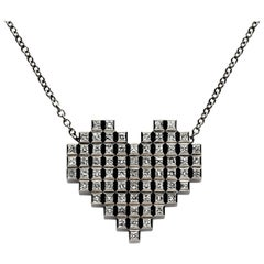 Francesca Grima Black Gold and Diamond Pixel Heart Necklace