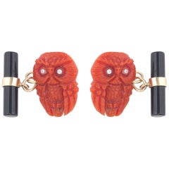 Pair of Coral Owl Diamonds Onyx Gold Cufflinks
