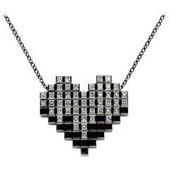 Francesca Grima Black Gold and 51 Diamond Pixel Heart Necklace