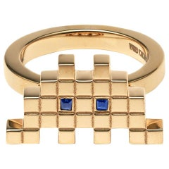 Francesca Grima Sapphire Yellow Gold Invader I Ring