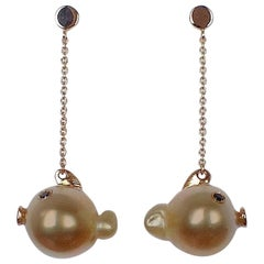 Fish Black Diamond Australian Oval Pearl Gold Drop Dangle Earrings