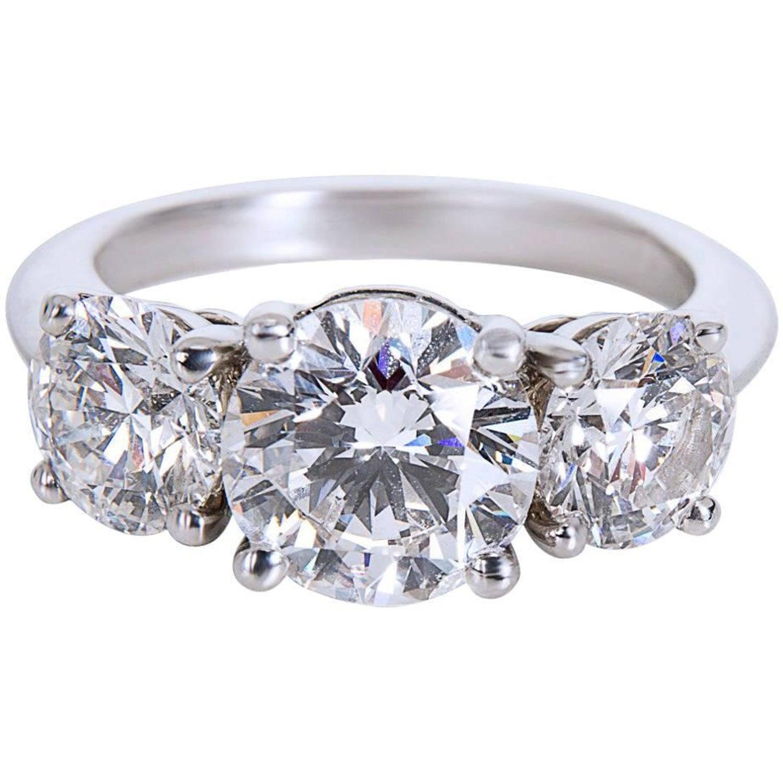 Tiffany And Co Three Stone Round Cut Platinum Diamond Engagement
