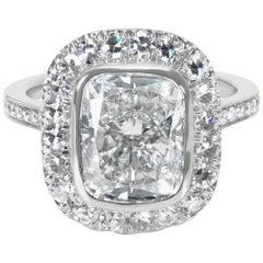 IGI Certified Cushion Diamond Halo Engagement Ring in Platinum, 4.98 Carats