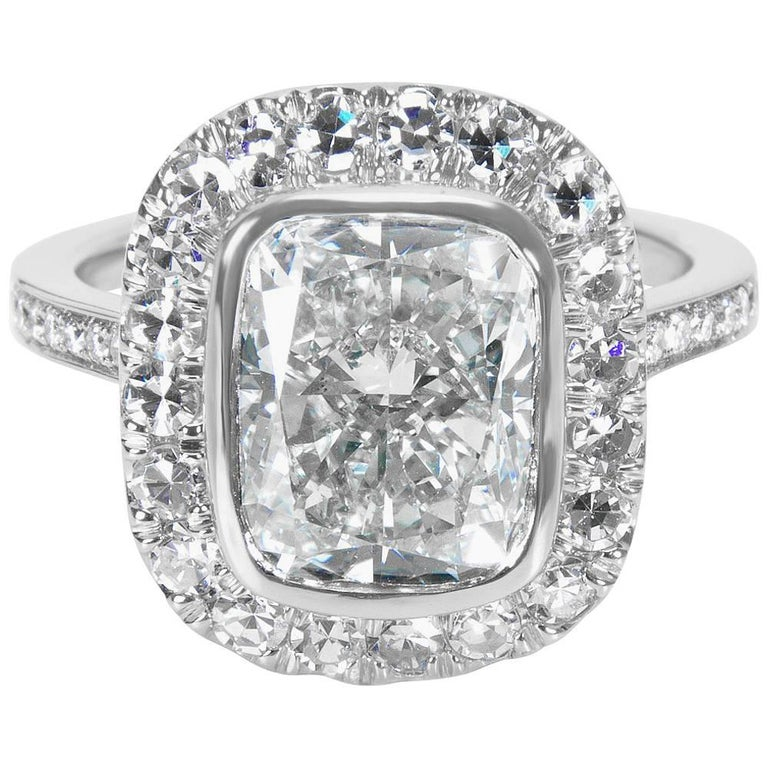 IGI Certified Cushion Diamond Halo Engagement Ring in Platinum, 4.98 Carats