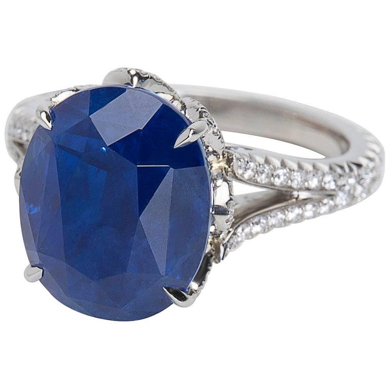 AGL Certified Ceylon Sapphire and Diamond Ring in Platinum (10.43 Carats)
