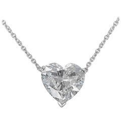 Graff GIA Certified Diamond Heart Necklace in Platinum H VS1 3.05 Carat