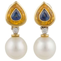 Ella Gafter Blue Sapphire Yellow Sapphire Pearl Diamond Gold Earrings