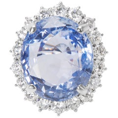 AGL Certified Diamond & Ceylon Blue Oval Sapphire Ring in Platinum, 2.60 Carats