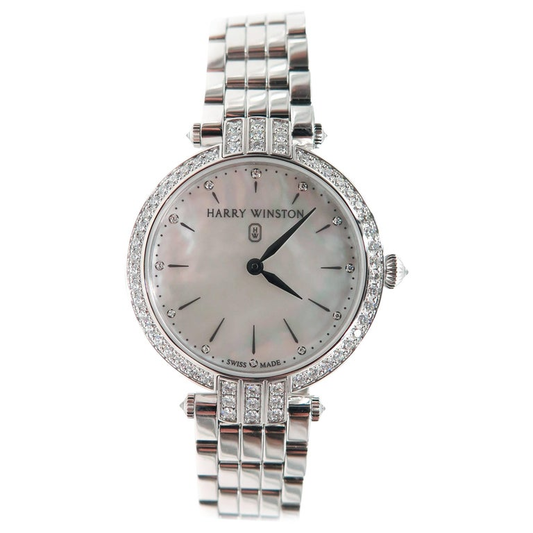 Harry Winston Ladies White Gold Diamond Premier quartz Wristwatch For Sale