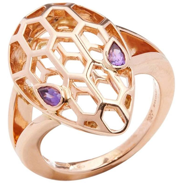 Bulgari Amethyst Gold Serpenti Ring