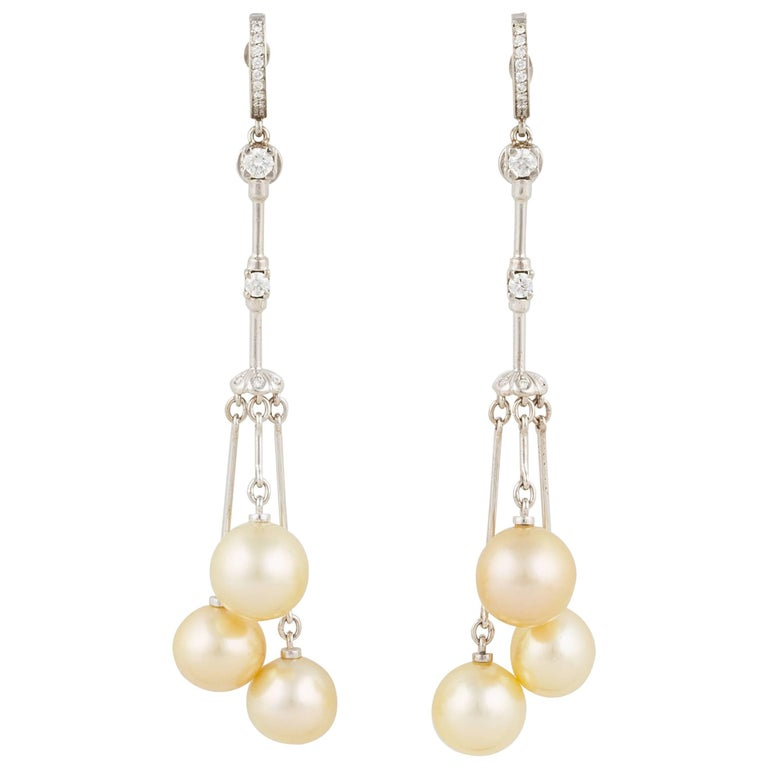 Ella Gafter Golden Pearl and Diamond White Gold Dangle Drop Earrings